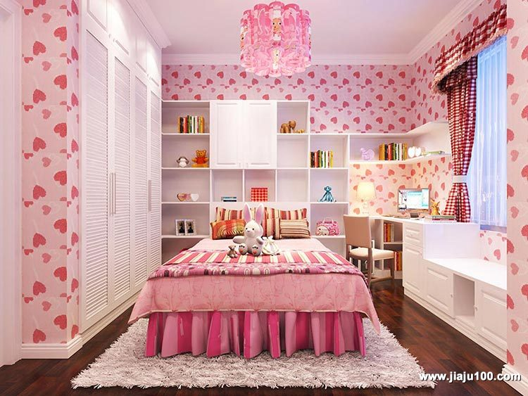 粉色系儿童床家具定制