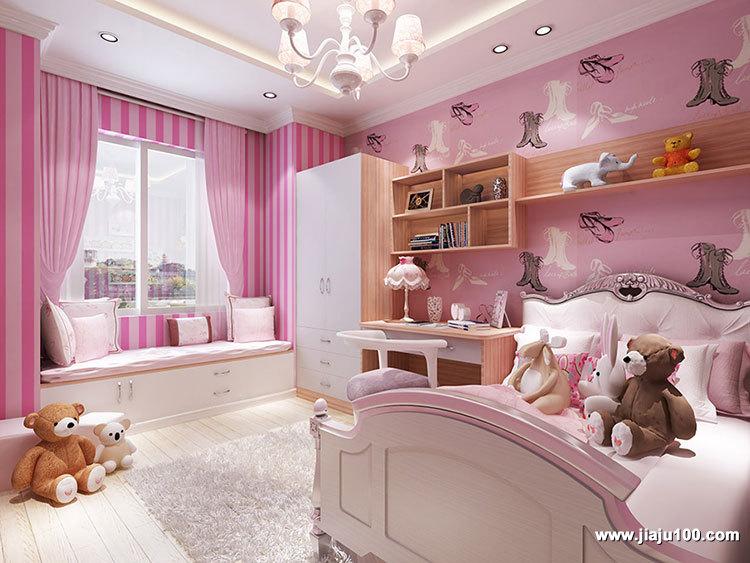 粉色系儿童房设计图