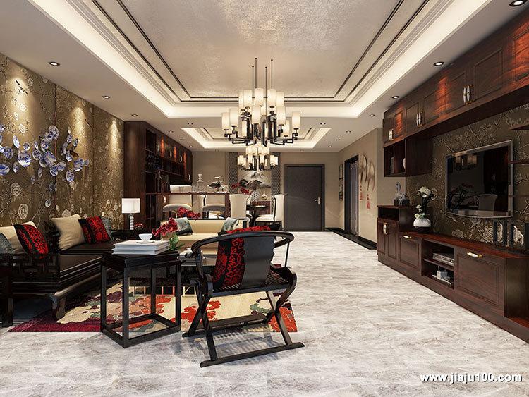 中式客厅实木沙发