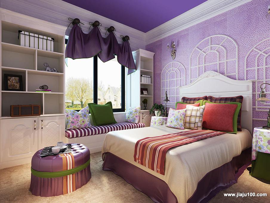 紫色系卧室设计