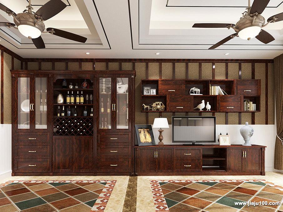 中式电视柜酒柜一体设计