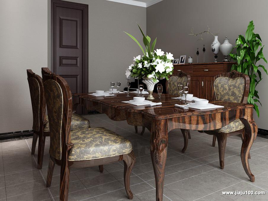 美式餐桌椅组合图片