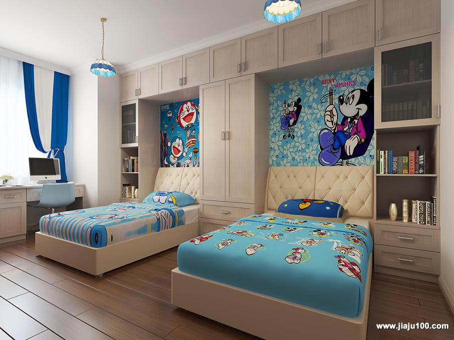 双儿童床柜组合