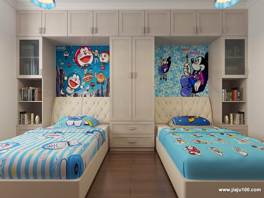 儿童房到顶床头柜
