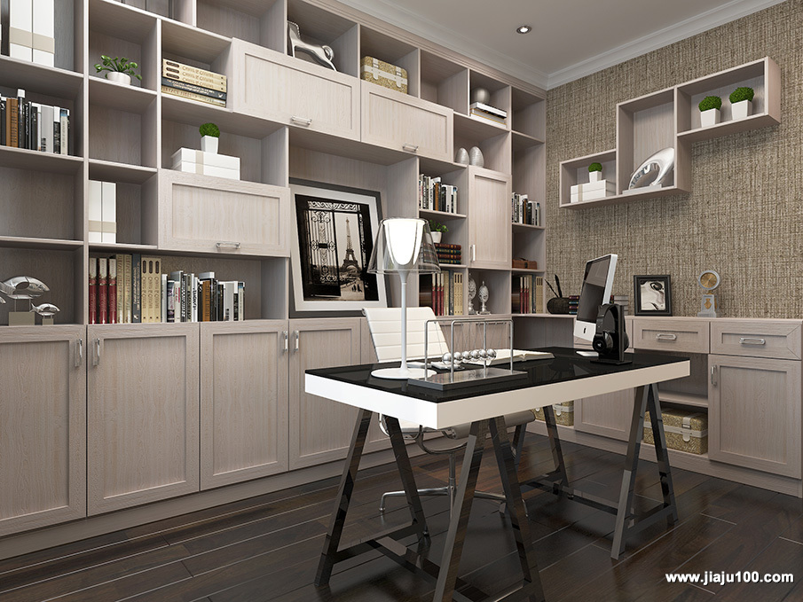 书房整墙书柜设计