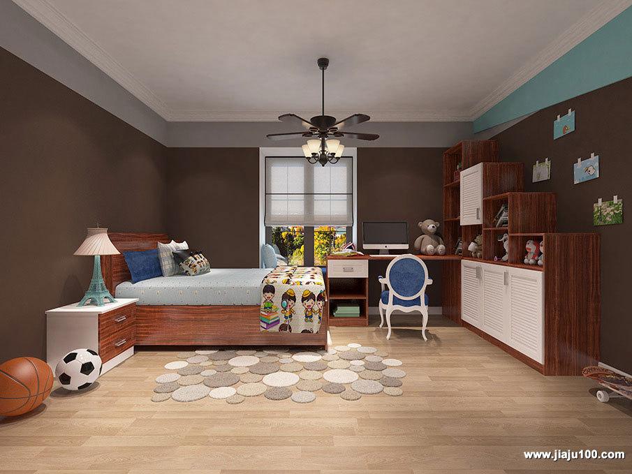 木纹儿童房家具设计