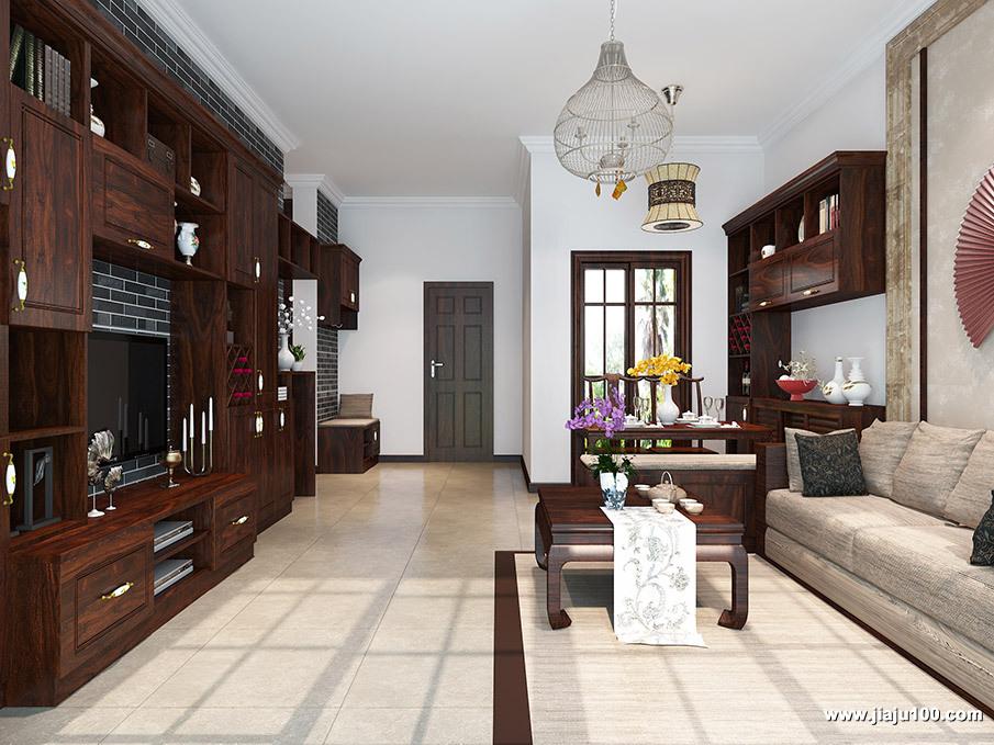 大户型新中式客厅设计图