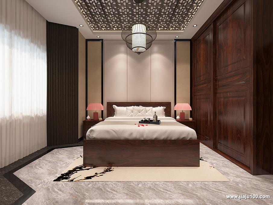 大户型新中式风格卧室设计图