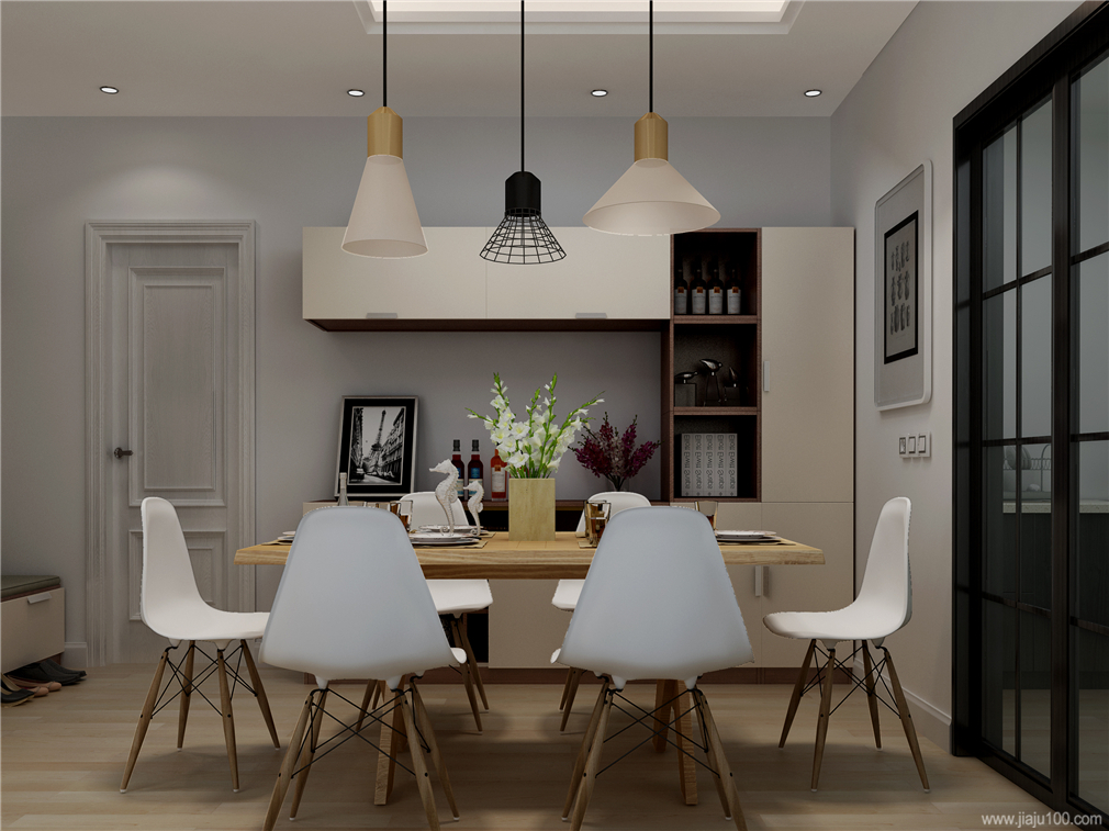 餐边柜+餐桌椅
