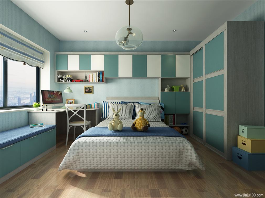 床+衣柜+书桌柜+地柜