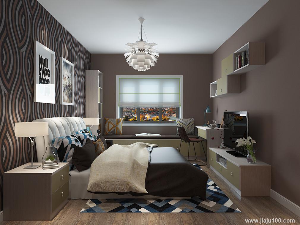 卧室床摆放效果图