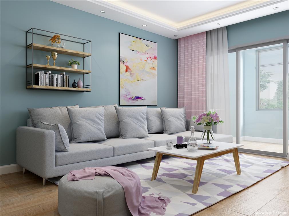 客厅布艺沙发茶几组合图片