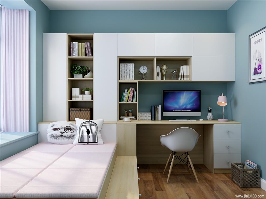 开放式书桌柜一体设计