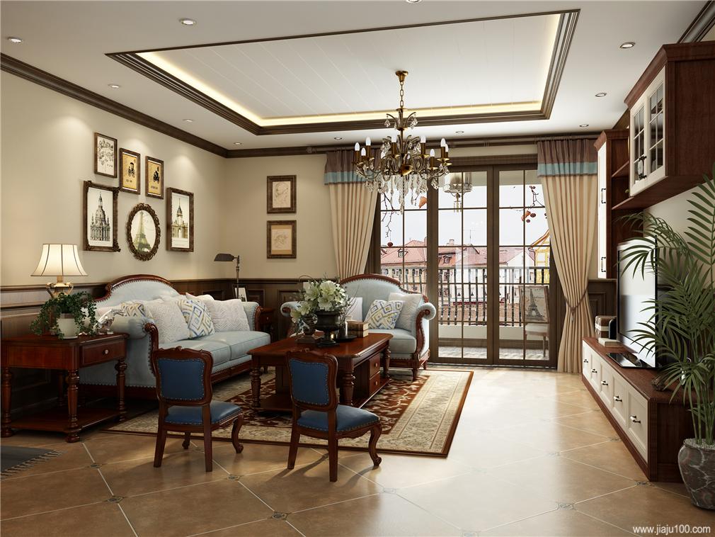 美式客厅家具设计效果图