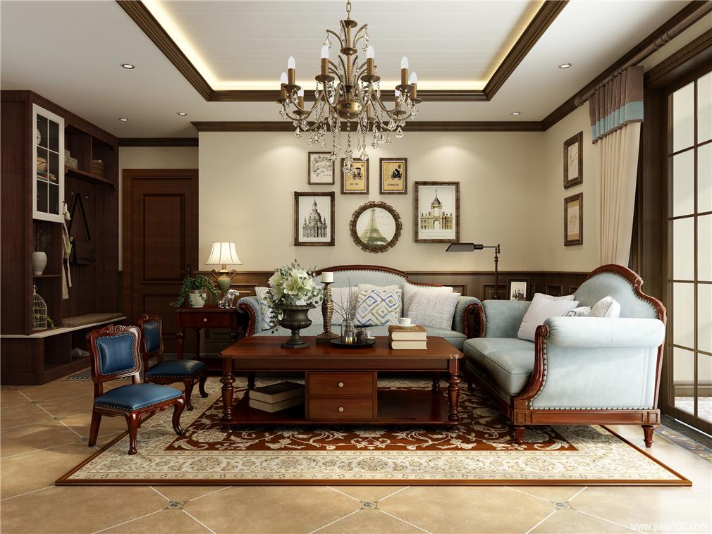 客厅美式沙发茶几组合