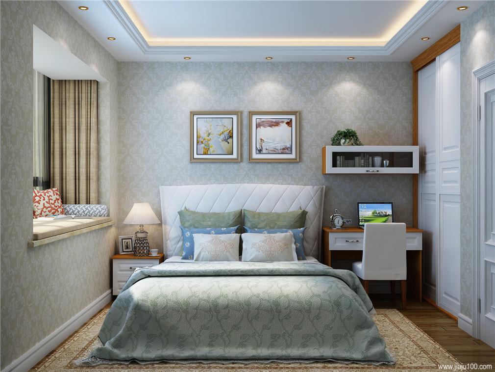 卧室衣柜书桌一体设计