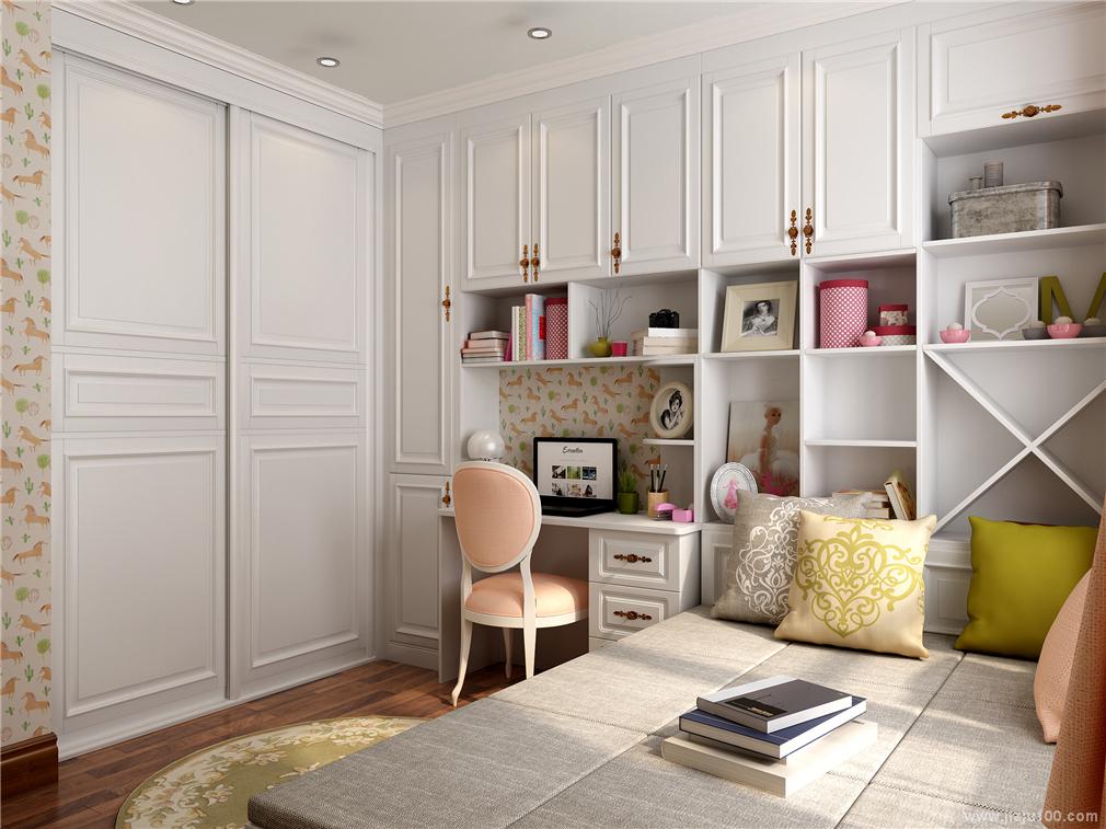 入墙式衣柜书柜设计