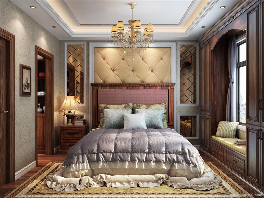 美式复古卧室床衣柜图片
