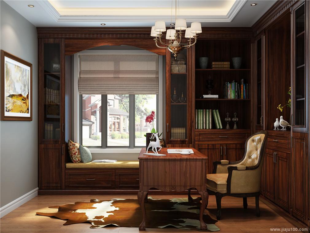飘窗柜写字台一体设计