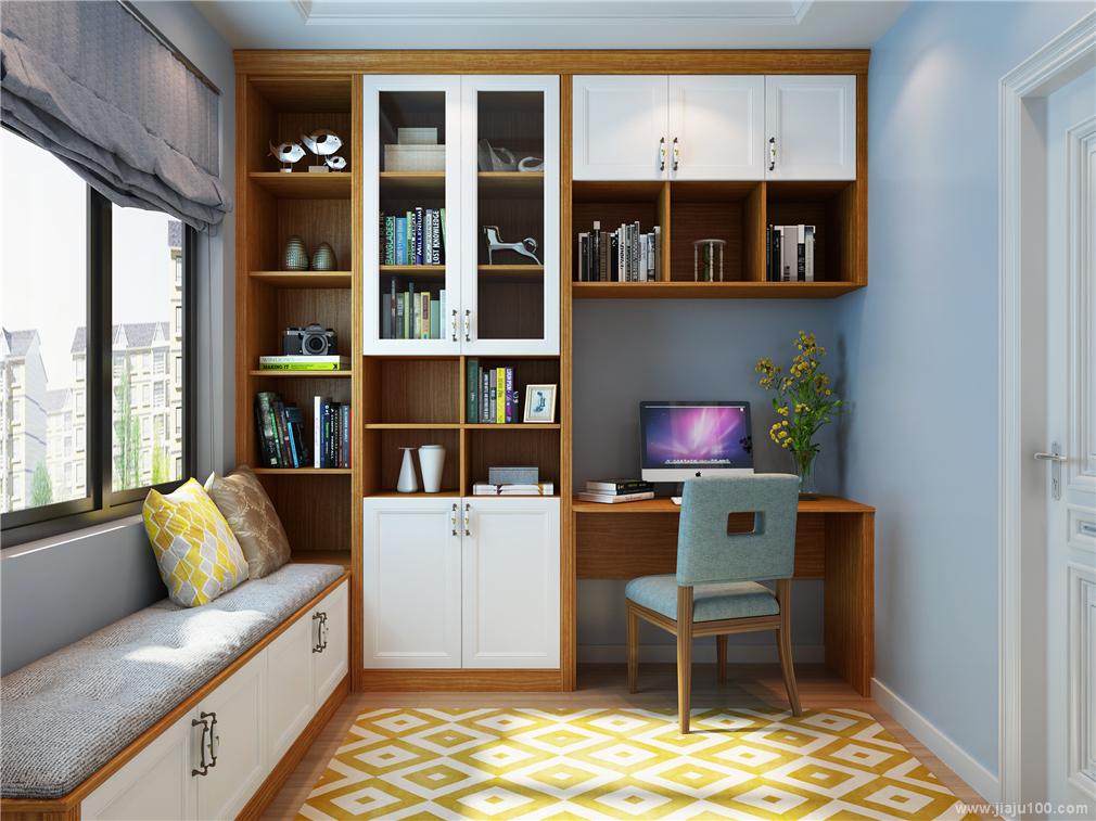 书房书桌柜飘窗组合图片