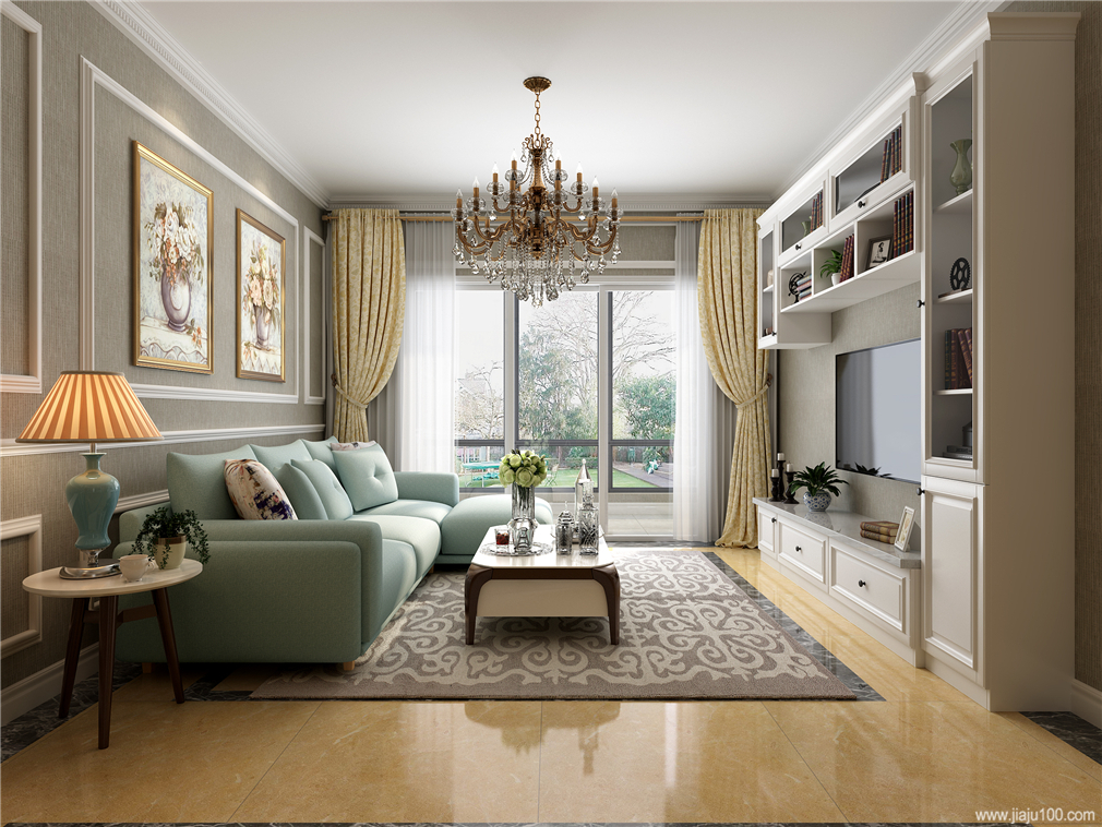 美式风格客厅电视柜设计