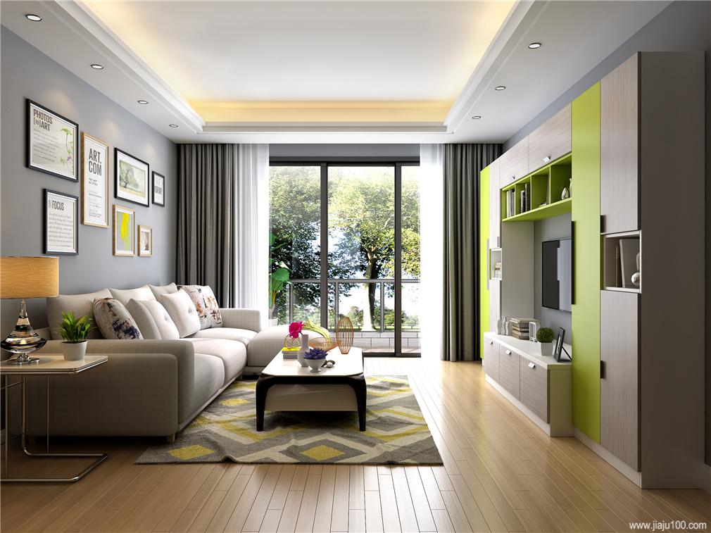现代客厅定制家具效果图