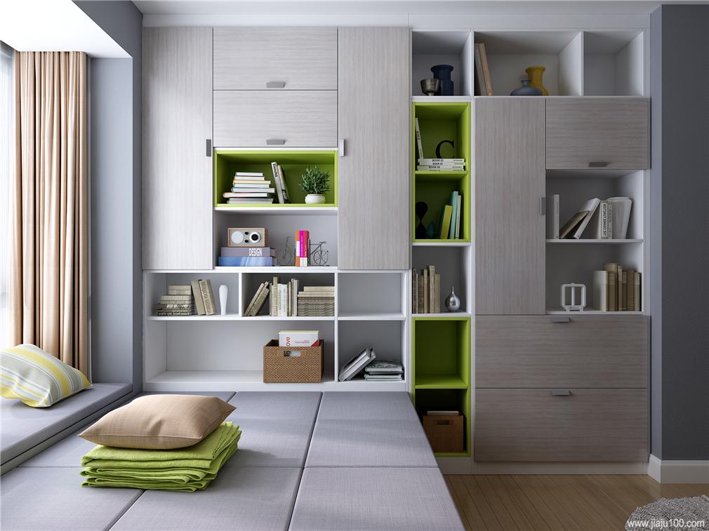 榻榻米书柜一体设计