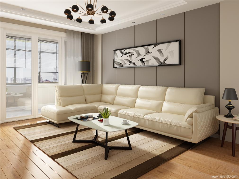 客厅白色真皮沙发和不锈钢茶几