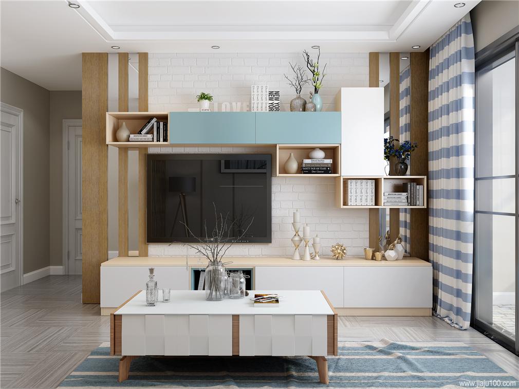 吊柜和地柜组合式电视柜