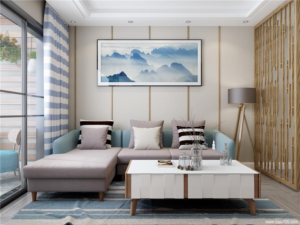 拼色客厅沙发茶几搭配组合
