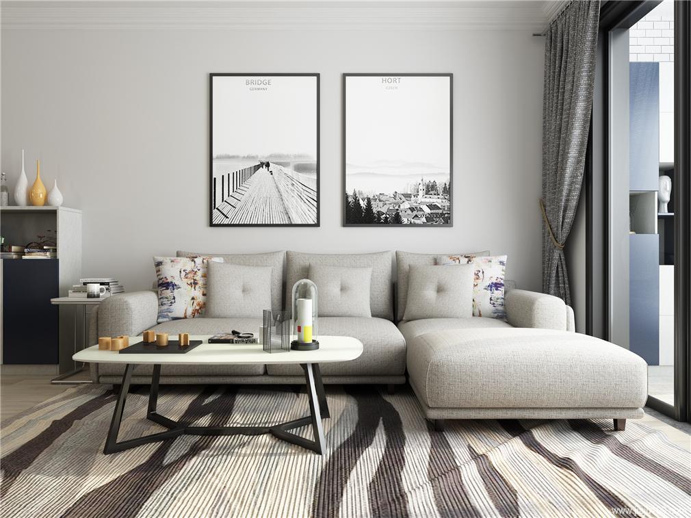 客厅布艺沙发+不锈钢茶几