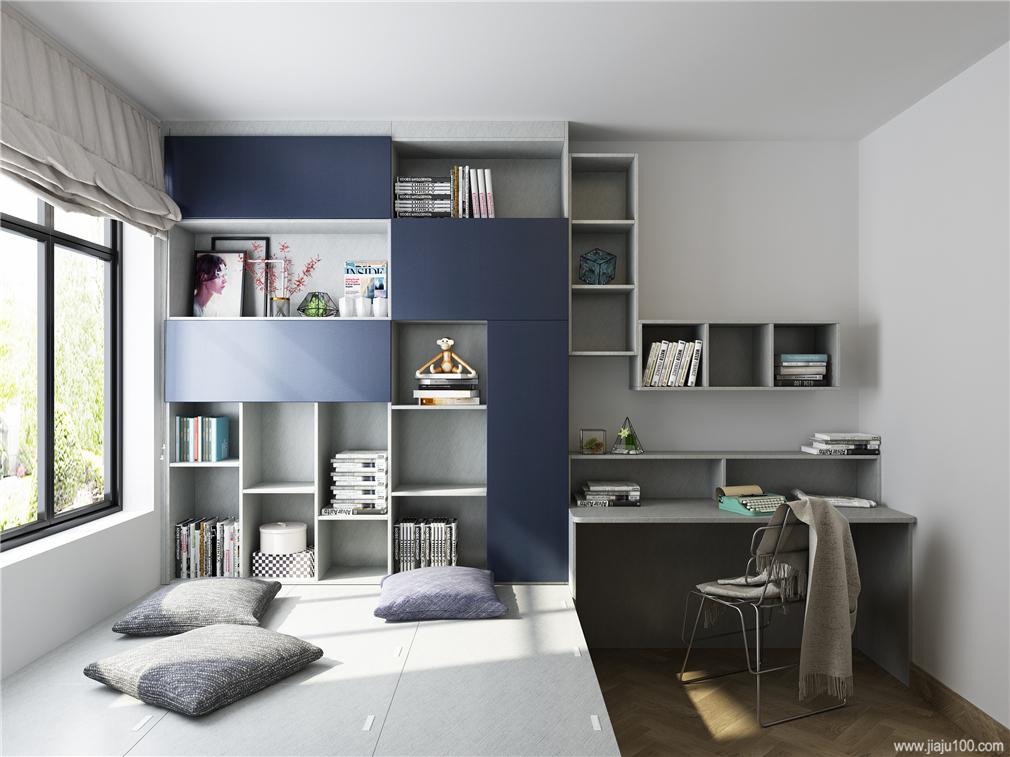 卧室榻榻米书桌柜一体设计