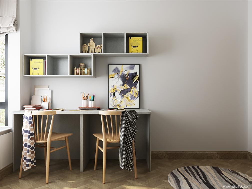 儿童房双人书桌设计