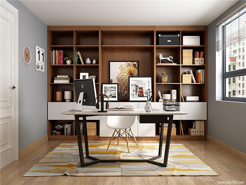 整面墙书桌柜设计效果图