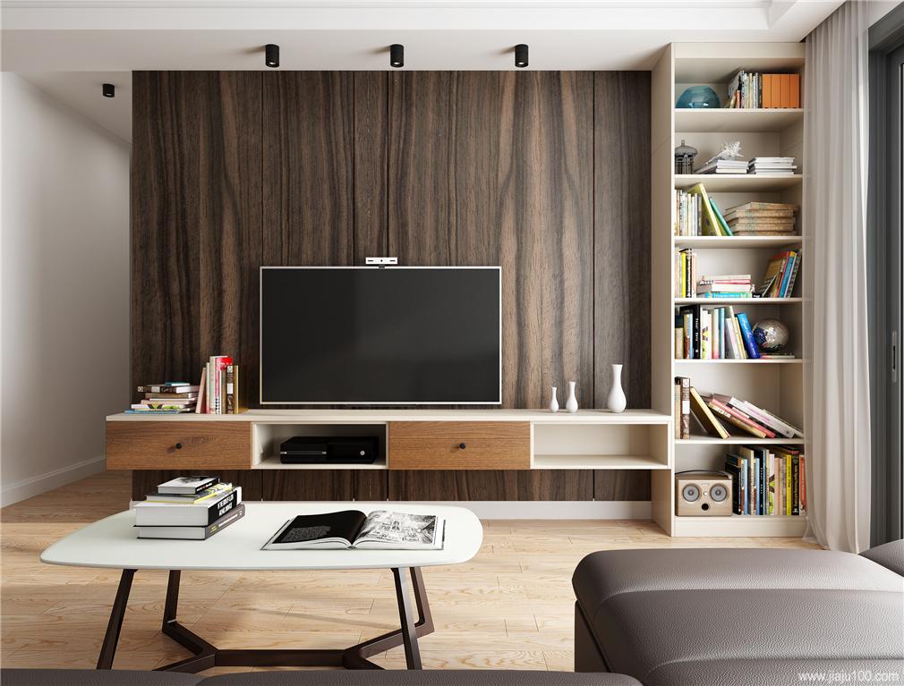客厅电视柜书柜组合设计