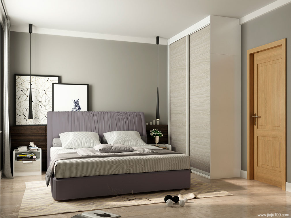 卧室到顶推拉门衣柜设计