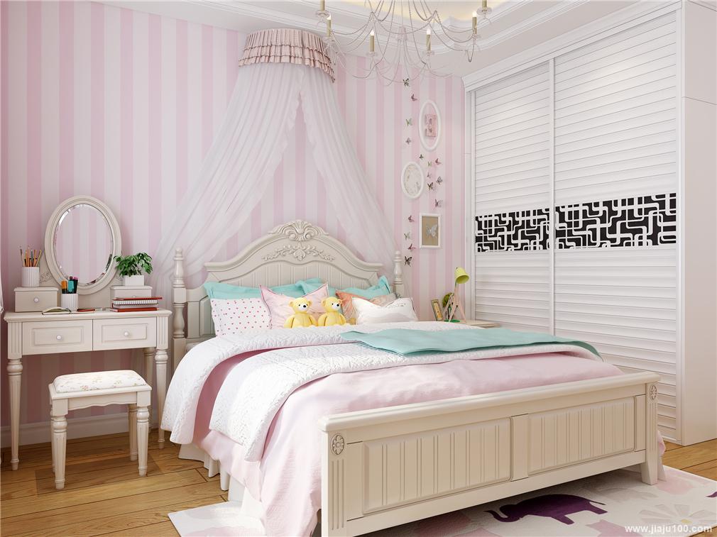 粉色儿童房定制家具效果图