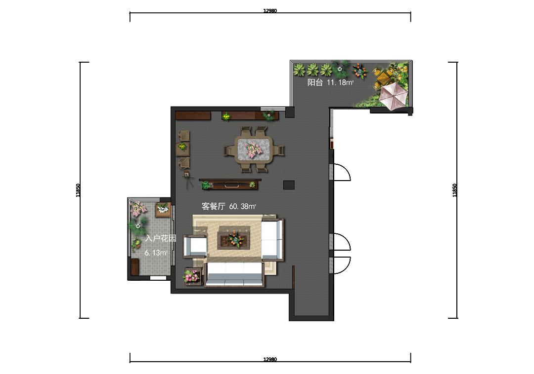 64平客餐厅家具设计户型图