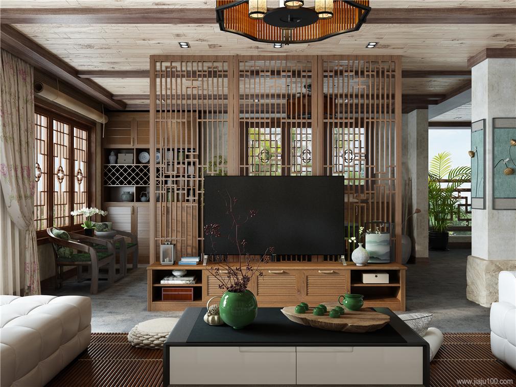 新中式电视柜屏风