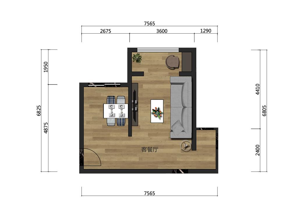 36平客餐厅家具设计户型图