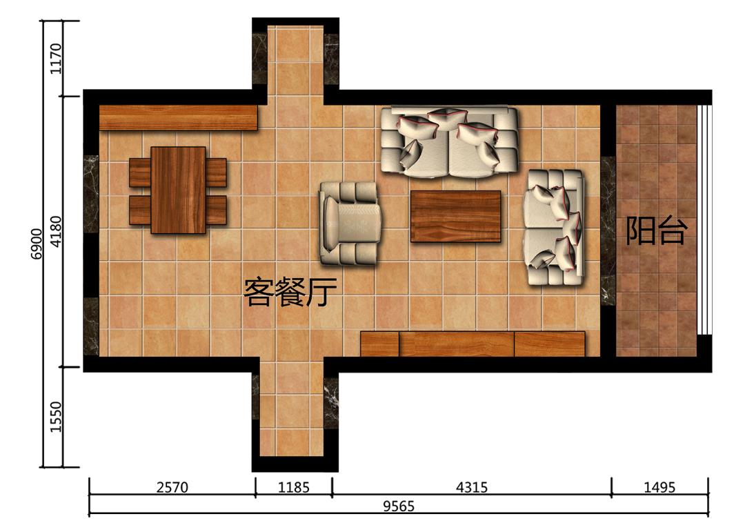 38平米客餐厅设计户型图