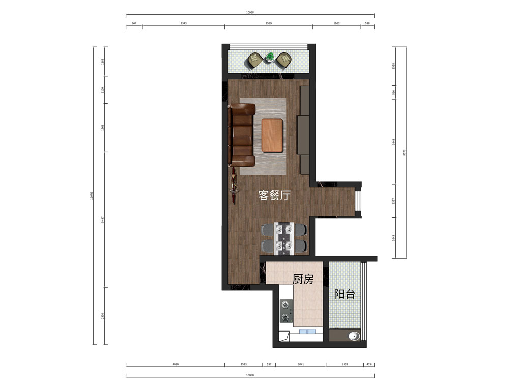 24平客餐廳設計戶型圖