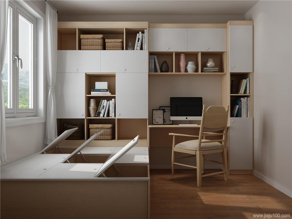 半开放式组合书桌柜