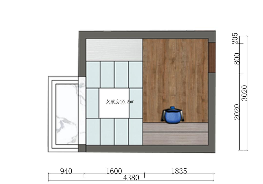 10平米女孩房设计户型图