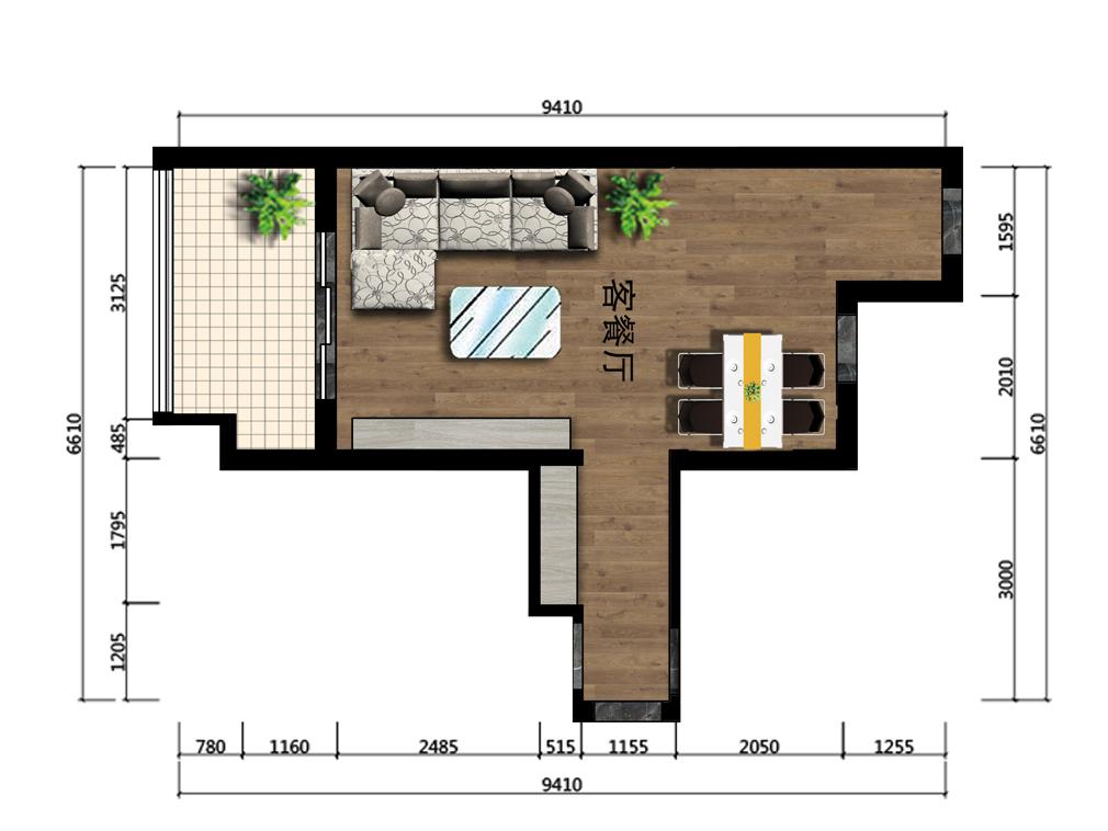 31平米客餐厅设计户型图