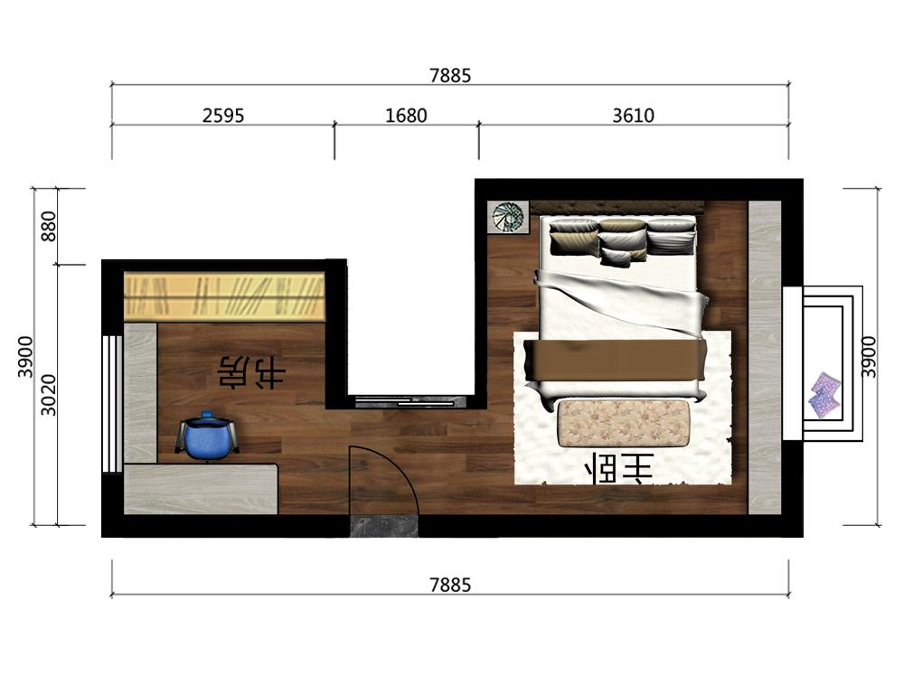 13平米主卧设计户型图