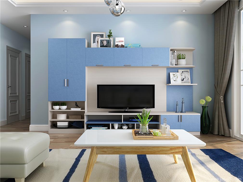 蓝色组合电视柜