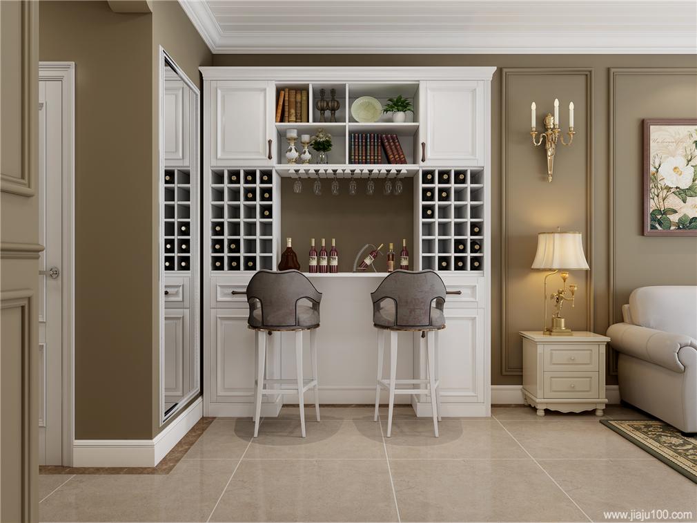 美式风格白色酒柜