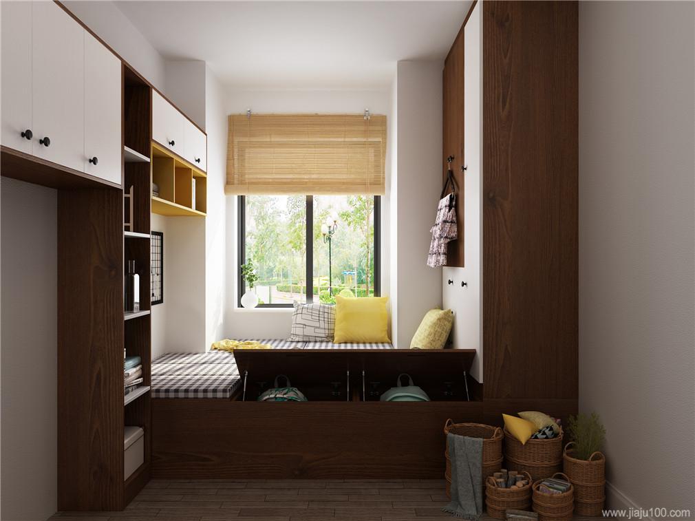 榻榻米床衣柜书桌一体设计