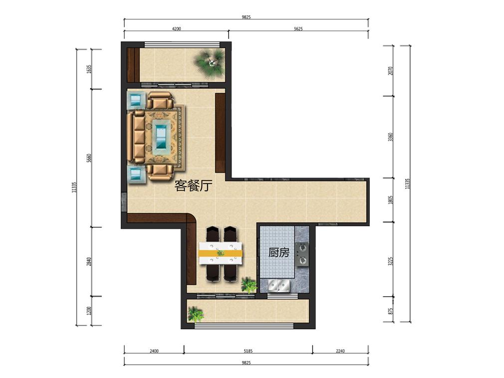 39平米客餐厅设计户型图